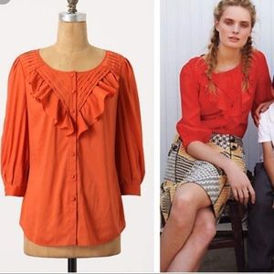 Anthropologie Maeve Nicolette Ruffle Blouse